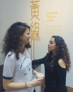 NoVA students Aina and Myrtò in the opening of Double Yellow Lines exhibition at the gallery of Hong Kong Baptist University.